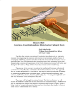 American Constitutionalism: Historical & Cultural Roots
