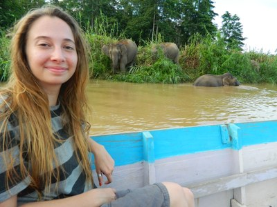 Erin Baldwin, taking in the sights on a boat ride during her time in Malaysia.