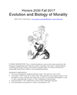 Evolution and Biology of Morality