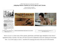 Adapting Manon: Passion in Novel, Opera, and Cinema